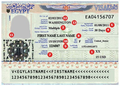 Actual travel visas samples egypt visa sample thecheapjerseys Choice Image
