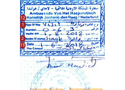 Jordan Visa sample