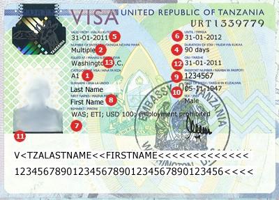 Actual travel visas samples tanzania visa sample altavistaventures Images