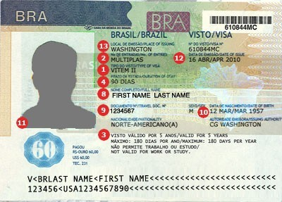 Brazil Visa Sample