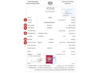 United Arab Emirates Visa Sample